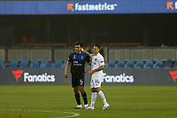 SAN JOSE, CA - SEPTEMBER 13: Oswaldo Alanis #4 of the San Jose Earthquakes and Javier Hernandez #14 of the Los Angeles Galaxy during a game between Los Angeles Galaxy and San Jose Earthquakes at Earthquakes Stadium on September 13, 2020 in San Jose, California.