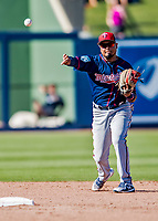 2 March 2019: Minnesota Twins top prospect infielder Luis Arraez gets the first out in the bottom of the 8th inning during a Spring Training game against the Washington Nationals at the Ballpark of the Palm Beaches in West Palm Beach, Florida. The Twins fell to the Nationals 10-6 in Grapefruit League play. Mandatory Credit: Ed Wolfstein Photo *** RAW (NEF) Image File Available ***