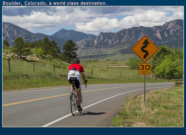 """Ever go cycling with friends or family? Pull over, make a nice composition using strong lines leading from the corner. This compostion is your """"stage.""""  Now, let your fellow cyclists pass by, while you take a series of shots. Unobtrusive action photos. Colorado private tours."""