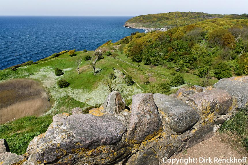 Blick von der Burgruine Hammershus auf der Insel Bornholm, Dänemark, Europa<br /> View from castle ruin Hammershus, Isle of Bornholm, Denmark