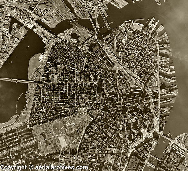 historical aerial photograph Boston, Massachusetts, 1955