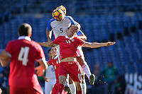 San Diego, CA - Sunday January 29, 2017: Chad Marshall, Nikola Cirkovic during an international friendly between the men's national teams of the United States (USA) and Serbia (SRB) at Qualcomm Stadium.