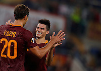 Calcio, Europa League: Roma vs Astra Giurgiu. Roma, stadio Olimpico, 29 settembre 2016.<br /> Roma's Federico Fazio, left, celebrates with his teammate Diego Perotti after scoring during the Europa League Group E soccer match between Roma and Astra Giurgiu at Rome's Olympic stadium, 29 September 2016. Roma won 4-0.<br /> UPDATE IMAGES PRESS/Isabella Bonotto
