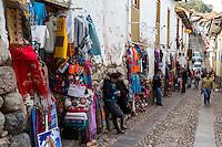 Peru, Cusco.  Street Scene, Souvenir Shops.