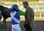 31 January 2009: Trainer Michael Matz talks with jockey Edgar Prado after Nicanor runs in his first race and finishes a disappointing 11th in a maiden race at Gulfstream Park in Hallandale, Florida.