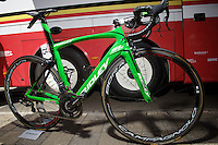 the customised green Ridley SL to match André Greipel's green jersey<br /> <br /> stage 3: Antwerpen (BEL) - Huy (BEL)<br /> 2015 Tour de France