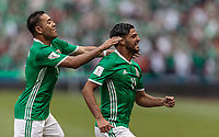 Mexico City, Mexico - Sunday June 11, 2017: Marco Fabian and Carlos Vela goal celebration during a 2018 FIFA World Cup Qualifying Final Round match with both men's national teams of the United States (USA) and Mexico (MEX) playing to a 1-1 draw at Azteca Stadium.