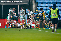 6th February 2021; Ricoh Arena, Coventry, West Midlands, England; English Premiership Rugby, Wasps versus Northampton Saints; Shaun Adendorff of Northampton Saints scores a try in the 22nd minute and asks the referee for the decision<br /> for confirmation