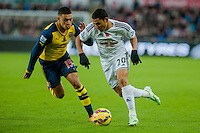 Sunday 9th November 2014<br /> Pictured: ( L-R ) Alex Oxlade-Chamberlain of Arsenal and Jefferson Montero of Swansea City battle it out <br /> Re: Barclays Premier League Swansea City v Arsenal at the Liberty Stadium, Swansea, Wales,UK