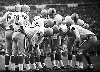 Toronto Argonauts offensive huddle in 1960. Photo copyright Scott Grant.