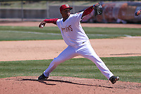 Wisconsin Timber Rattlers pitcher Milton Gomez (22) delivers a pitch during a game against the Cedar Rapids Kernels on April 23rd, 2015 at Fox Cities Stadium in Appleton, Wisconsin.  Cedar Rapids defeated Wisconsin 3-0.  (Brad Krause/Four Seam Images)