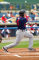 Blake Kelso #5 of the Hagerstown Suns follows through on his swing against the Rome Braves at State Mutual Stadium on May 1, 2011 in Rome, Georgia.   Photo by Brian Westerholt / Four Seam Images