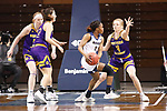 SIOUX FALLS, SD - MARCH 7: Brandon McKissic #3 of the UMKC Kangaroos drives toward Danni Nichols #4 of the Western Illinois Leathernecks during the Summit League Basketball Tournament at the Sanford Pentagon in Sioux Falls, SD. (Photo by Richard Carlson/Inertia)