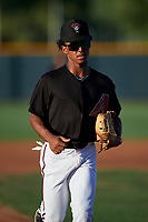 AZL D-backs second baseman Glenallen Hill Jr. (6) jogs off the field between innings of an Arizona League game against the AZL Mariners on July 3, 2019 at Salt River Fields at Talking Stick in Scottsdale, Arizona. The AZL D-backs defeated the AZL Mariners 3-1. (Zachary Lucy/Four Seam Images)