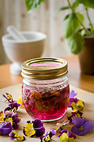 Herbal vinegar, Heartsease (viola, violets) in sealed jar