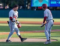 STANFORD, CA - JUNE 7: Tim Tawa, Brock Jones during a game between UC Irvine and Stanford Baseball at Sunken Diamond on June 7, 2021 in Stanford, California.