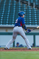 AZL Rangers catcher David Garcia (9) at bat during an Arizona League playoff game against the AZL Cubs 1 at Sloan Park on August 29, 2018 in Mesa, Arizona. The AZL Cubs 1 defeated the AZL Rangers 8-7. (Zachary Lucy/Four Seam Images)