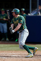 Kyle Garlick #4 of the Oregon Ducks bats against the Cal State Fullerton Titans at Goodwin Field on March 3, 2013 in Fullerton, California. (Larry Goren/Four Seam Images)