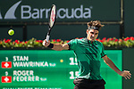 March 19, 2017: Roger Federer, SUI, battles Stan Wawrinka, SUI, in the finals at the PNB Paribas Open being played at the Indian Wells Tennis Garden in Indian Wells, California.  ©Mal Taam/Tennisclix