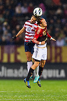Carli Lloyd (10) of the United States (USA) goes up for a header with Viola Odebrecht (17) of Germany (GER). The United States (USA) and Germany (GER) played to a 2-2 tie during an international friendly at Rentschler Field in East Hartford, CT, on October 23, 2012.