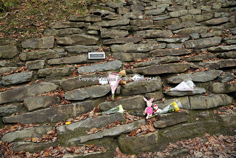 Pictured: Tributes at the entrance to the track leading to the house that burned in Llangammarch Wells, Powys, Wales, UK. Tuesday 31 October 2017<br />Re: Investigations continue into a house fire in which a father and several of his children have died.<br />Three children aged 13, 12 and 10 escaped the farmhouse in Llangammarch Wells, Powys, in the early hours of Monday and raised the alarm.<br />Police said they could not identify the deceased or confirm numbers.<br />One of those missing has been named locally as David Cuthbertson.