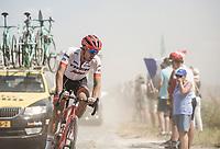 Koen De Kort (NED/Trek Segafredo) riding the cobbles through the dust. <br /> <br /> Stage 9: Arras Citadelle > Roubaix (154km)<br /> <br /> 105th Tour de France 2018<br /> ©kramon