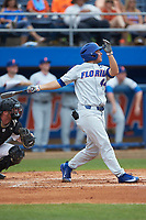 Austin Langworthy (44) of the Florida Gators follows through on his swing against the Wake Forest Demon Deacons in the completion of Game Two of the Gainesville Super Regional of the 2017 College World Series at Alfred McKethan Stadium at Perry Field on June 12, 2017 in Gainesville, Florida. The Demon Deacons walked off the Gators 8-6 in 11 innings. (Brian Westerholt/Four Seam Images)