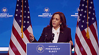 United States Vice President-elect Kamala Harris makes remarks following her virtual meeting with the National Governors Association's Executive Committee in Wilmington, Delaware on Thursday, November 19, 2020.  <br /> Credit: Biden  Transition via CNP /MediaPunch