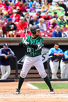 Great Lakes Loons catcher Ramon Rodriguez (13) at bat during a Midwest League game against the Wisconsin Timber Rattlers on May 12, 2018 at Fox Cities Stadium in Appleton, Wisconsin. Wisconsin defeated Great Lakes 3-1. (Brad Krause/Four Seam Images)