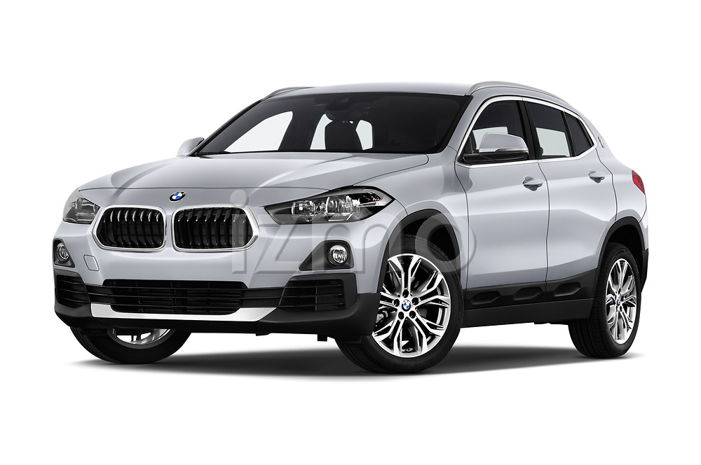 Stock pictures of low aggressive front three quarter view of a 2018 BMW X2 Advantage 5 Door SUV