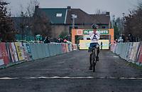 race winner Tom Pidcock (GBR/Trinity) crossing the finish line<br /> <br /> 2020 Superprestige Gavere (BEL)<br /> <br /> ©kramon
