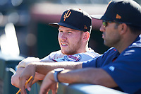 Surprise Saguaros relief pitcher Tyler Jay (52), of the Minnesota Twins organization, during an Arizona Fall League game against the Scottsdale Scorpions on October 27, 2017 at Scottsdale Stadium in Scottsdale, Arizona. The Scorpions defeated the Saguaros 6-5. (Zachary Lucy/Four Seam Images)