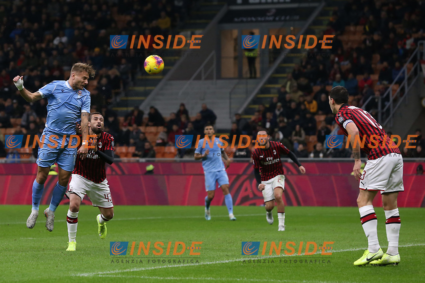 Ciro Immobile of Lazio heads the ball into the net to give the side a 1-0 lead during the Serie A match at Giuseppe Meazza, Milan. Picture date: 3rd November 2019. Picture credit should read: Jonathan Moscrop/Sportimage PUBLICATIONxNOTxINxUK SPI-0299-0006<br /> Milano 03-11-2019 Stadio San Siro <br /> Football Serie A 2019/2020 <br /> AC Milan - SS Lazio <br /> Photo Jonathan Moscrop / Sportimage / Imago  / Insidefoto <br /> ITALY ONLY