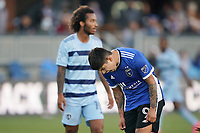 SAN JOSE, CA - MAY 22: Eduardo Lopez #9 of the San Jose Earthquakes reacts during a game between Sporting Kansas City and San Jose Earthquakes at PayPal Park on May 22, 2021 in San Jose, California.