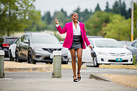 TACOMA, WA - JULY 31: Tziarra King #23 of the OL Reign arrives at the stadium before a game between Racing Louisville FC and OL Reign at Cheney Stadium on July 31, 2021 in Tacoma, Washington.