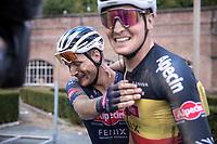 race winner Jonas Rickaert (BEL/Alpecin Fenix) congratulated by teammate Tim Merlier (BEL/Alpecin Fenix)<br /> <br /> Dwars Door Het Hageland 2020<br /> One Day Race: Aarschot – Diest 180km (UCI 1.1)<br /> Bingoal Cycling Cup 2020