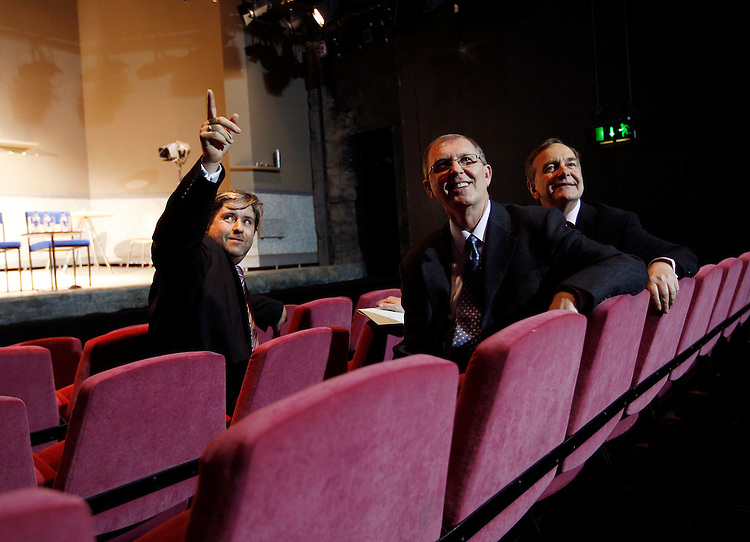 """.Stuart McLaughlin, Chief Executive Business to Arts (left) with Allen Blevins, Director of Art & Heritage programmes for Bank of America Merrill Lynch and Minister for Arts, Sport & Tourism Martin Cullen T.D. (right) pictured here at the Peacock Theatre, Dublin at the announcement of a EUR400,000 three year investment by the Art & Cultural sector from Bank of America Merrill Lynch in a project entitled """"New Stream"""", which will be operated by Business to Arts. The three year Programme aims to build essential skills and knowledge in fundraising within the arts and cultural sector in Ireland. Pic. Robbie Reynolds"""