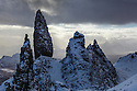 The Old Man of Storr after heavy snowfall, Isle of Skye, Scotland, UK. March.