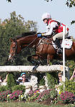 Selena O'Hanlon and Colombo of Canada compete in the cross country phase of the FEI  World Eventing Championship at the Alltech World Equestrian Games in Lexington, Kentucky.