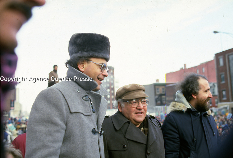 Union Leaders  Yvon Charbonneau (CEQ) (L) and  Louis Laberge (FTQ) (M)   join Gerald Larose (CSN) (R) at a demonstration of CSN workers in front of Quebec Premier office in Hydro-Quebec headquarter in December 1986 (exact date unknown)<br /> <br /> File Photo : Agence Quebec Presse - Pierre Roussel