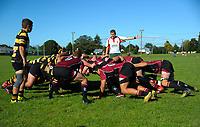 A scrum packs down during the Wairarapa Bush club rugby match between Carterton and Eketahuna at Carterton Park, Carterton, New Zealand on Saturday, 22 April 2017. Photo: Dave Lintott / lintottphoto.co.nz