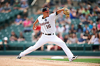 Rochester Red Wings starting pitcher Jose Berrios (16) delivers a pitch during a game against the Indianapolis Indians on May 26, 2016 at Frontier Field in Rochester, New York.  Indianapolis defeated Rochester 5-2.  (Mike Janes/Four Seam Images)