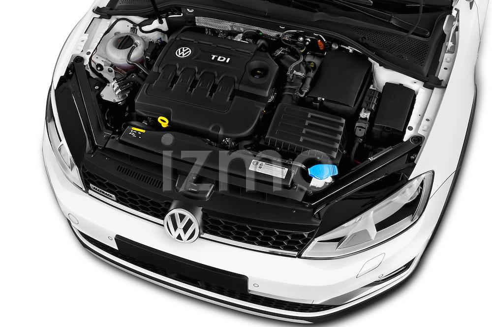 Car Stock 2015 Volkswagen Golf Alltrack 5 Door Wagon Engine  high angle detail view