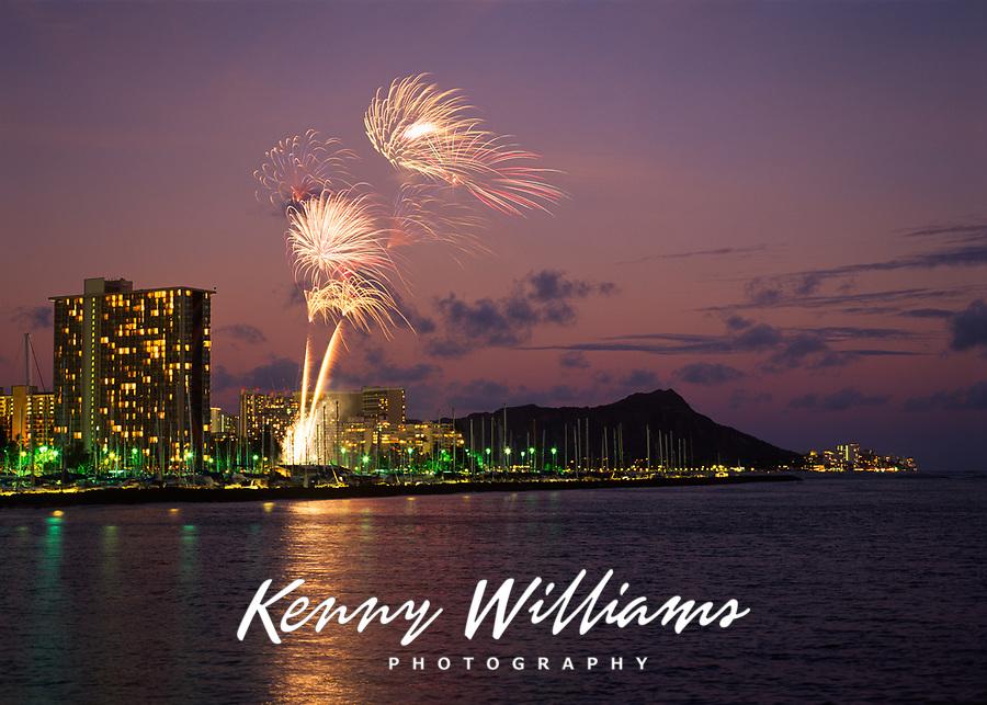 Fireworks Celebrations at Night, Waikiki, Oahu, Hawaii, USA.