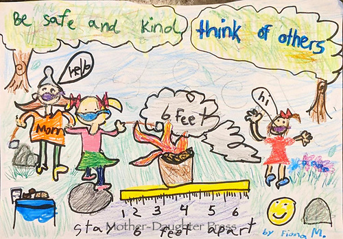 """""""Be Safe and Kind"""" Drawing by Fiona Marianski, Grade 1, Yarmouth, ME, USA"""