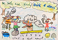 """Be Safe and Kind"" Drawing by Fiona Marianski, Grade 1, Yarmouth, ME, USA"