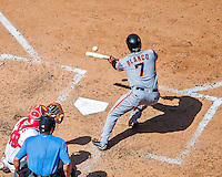 7 August 2016: San Francisco Giants right fielder Gregor Blanco bunts against the Washington Nationals at Nationals Park in Washington, DC. The Nationals shut out the Giants 1-0 to take the rubber match of their 3-game series. Mandatory Credit: Ed Wolfstein Photo *** RAW (NEF) Image File Available ***