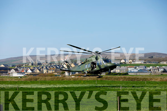 Air Corp helicopter at the scene of the road traffic accident in Ballyheigue on Tuesday