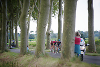 right away some riders try and go for the breakaway (eventually 21 will escape)<br /> <br /> 2014 Tour de France<br /> stage 16: Carcassonne - Bagnères-de-Luchon (237km)