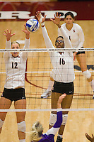 STANFORD, CA - DECEMBER 5:  Erin Waller and Foluke Akinradewo of the Stanford Cardinal during Stanford's 3-0 win over Albany in the NCAA Division 1 Women's Volleyball first round on December 5, 2008 at Maples Pavilion in Stanford, California.